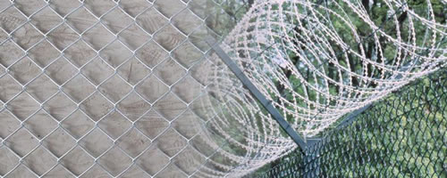 Galvanized Steel Chain Link Fence with Security Barbed Wire