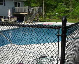 Black Vinyl Coated Chain Link Fence For Swimming Pool Security